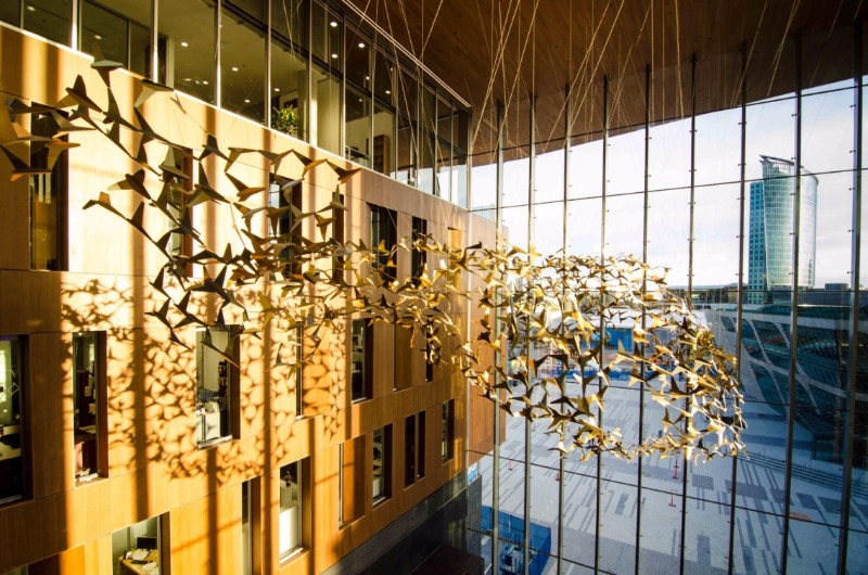 When-youre-in-the-lobby-of-Centre-Stage-at-Surrey-City-Hall-look-up-to-see-a-flock-of-birds.-This-sculpture-Together-is-by-Sophie-Nielsen-and-Rolfe-Knudsen-of-Studio-Roso