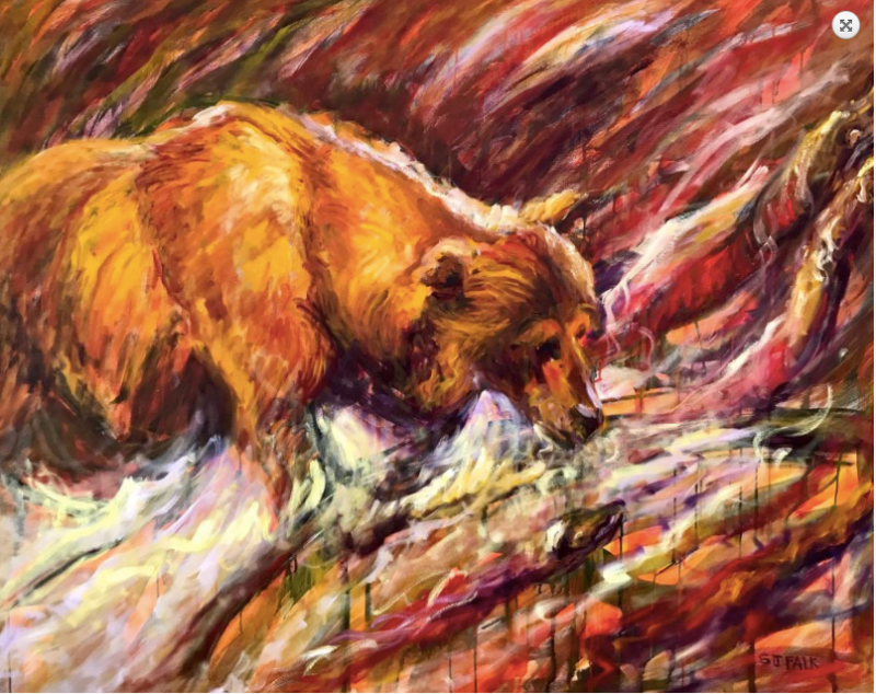 Bear-with-Red-Fish-48-X-60