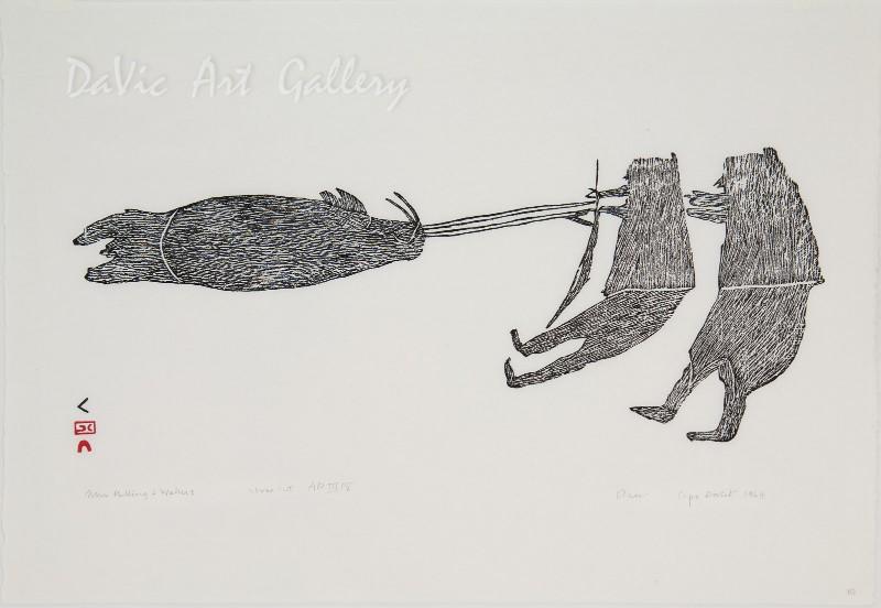 Inuit-Cape-Dorset-1964-PARR-Men-Pulling-a-Walrus-1