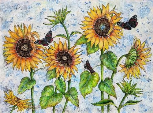 Red-Admirals-In-The-Sunflower-Patch-LauraLeeder-300dpi
