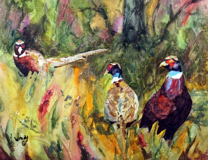 Wendy-Mould.-Ring-necked-Pheasants-in-the-Field.-Watercolour