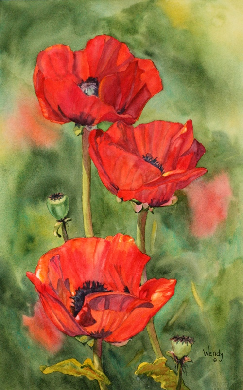 Wendy-Mould.-Poppies-Full-of-Life.-Watercolour