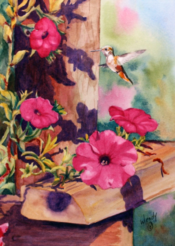 Wendy-Mould.-Petunias-Hummingbird.-Watercolour