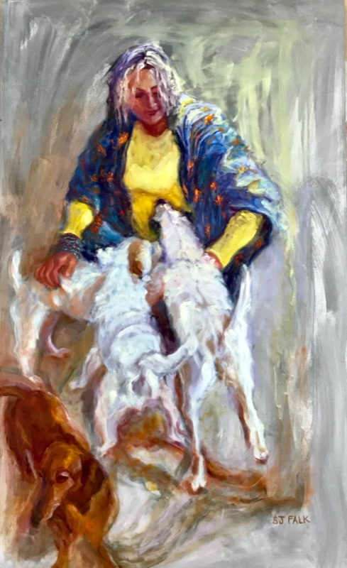 "Title-woman-with-dogs-Size-60""x-36""-Oil-on-canvas"