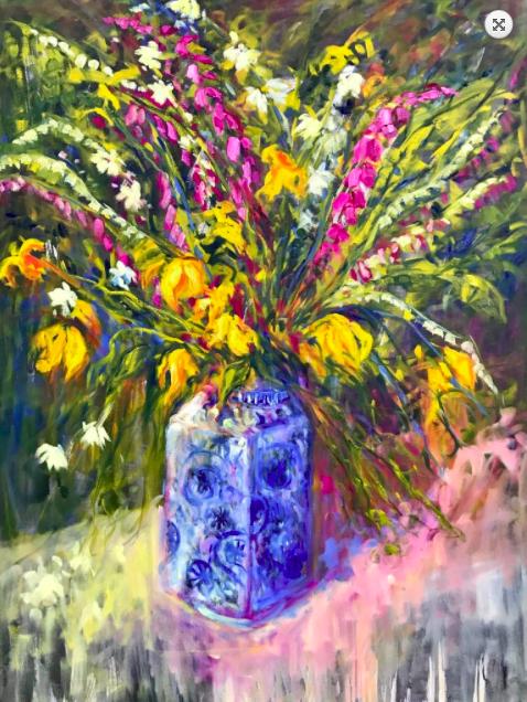 """Vintage-Blue-Vase-48""""x-36""""-Oil-on-Canvas"""