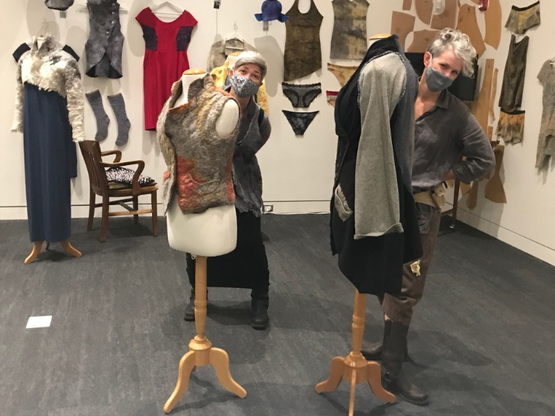 Photos-of-Amy-Walker-and-Sharon-Kallis-as-they-install-for-Natures-Clothesline