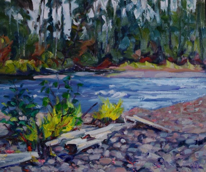 Campsite-on-Klondike-River-20-x-24-Oil-on-Panel